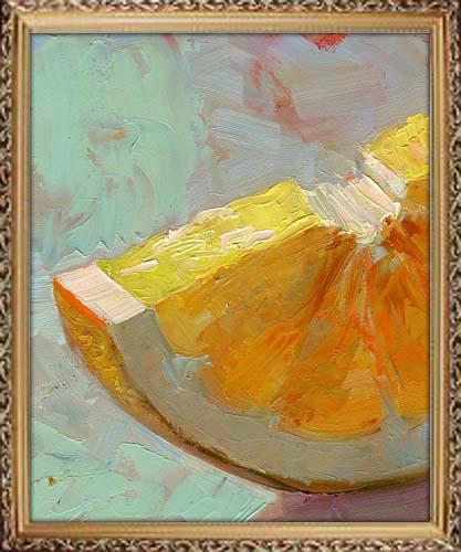 Oil painting of an orange slice, artist portfolio