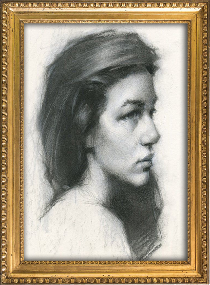 Charcoal drawing of a young girl with dark hair, artist portfolio