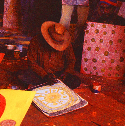 Shorty Lungkarta Tjungurrayi, detail of a group portrait, Men's painting room, Papunya, 1972